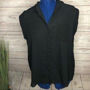 Mossimo sheer black buttondown top cap sleeves XXL